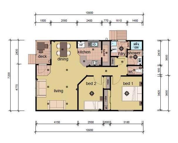 The Ashton bedroom prefab home plans