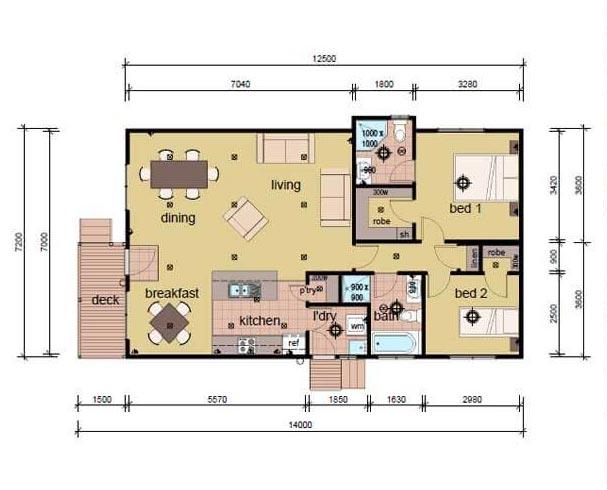 The Crossland Plan 2 bedroom modular home