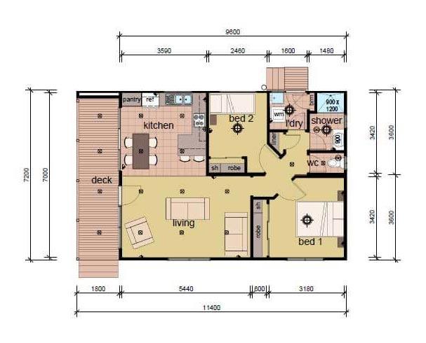 The Lambert B 2 bedroom prefab home plans