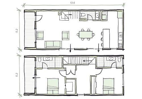 The Lanceley Plan 2 bedroom modular home