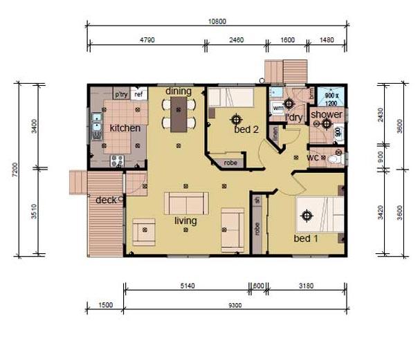 2 bedroom modular home plans - the lindsa