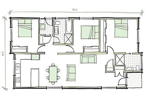 The Martens - 3 bedroom modular home plans