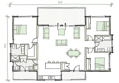 The Milson 3 bedroom prefab home plans
