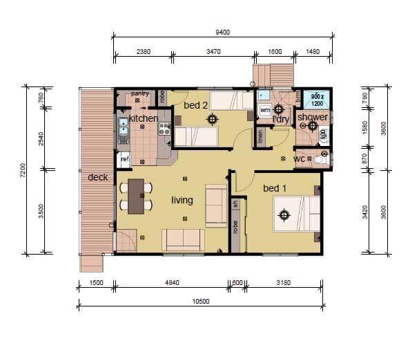 the Nolan 2 bedroom modular home