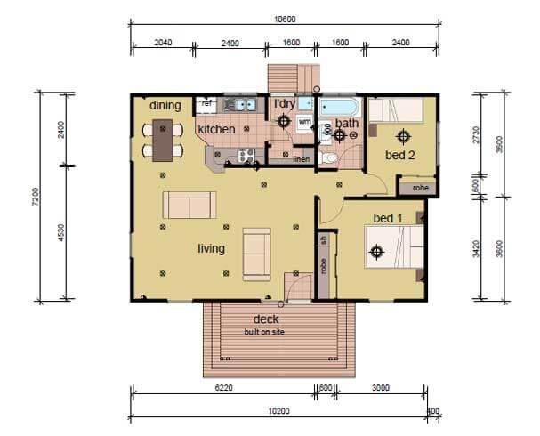 The rees modular home plans 2 bed