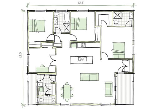 The Roberts 3 bedroom prefab home plans