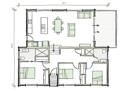 3 bedroom modular home plans - the Shore
